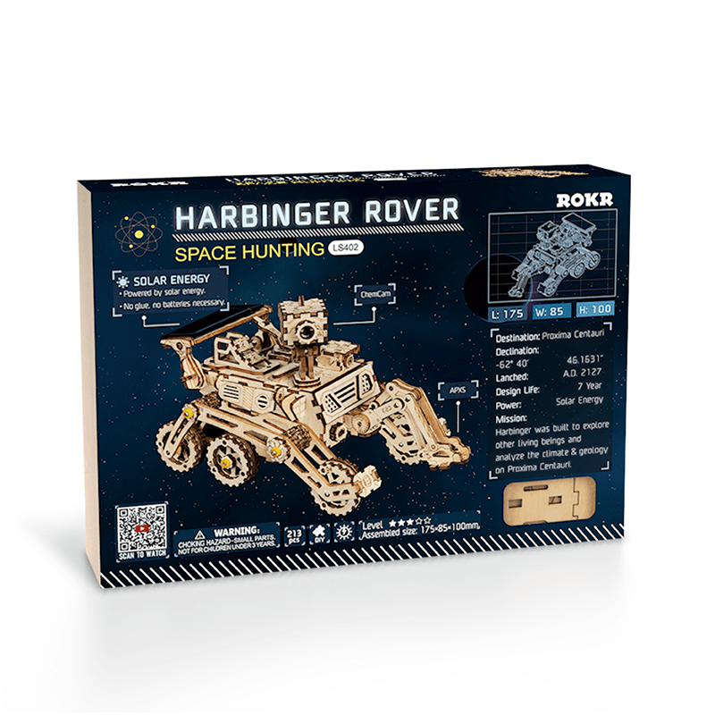 harbinger rover 3d wooden puzzle movement assembled solar energy powered toys space hunting 3