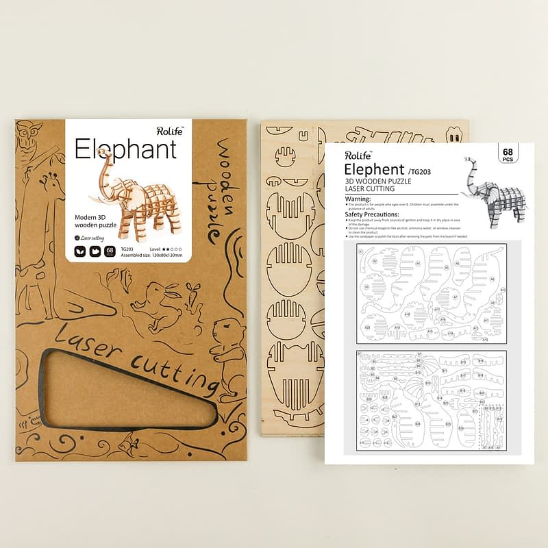 elephant modern 3d wooden puzzle 4