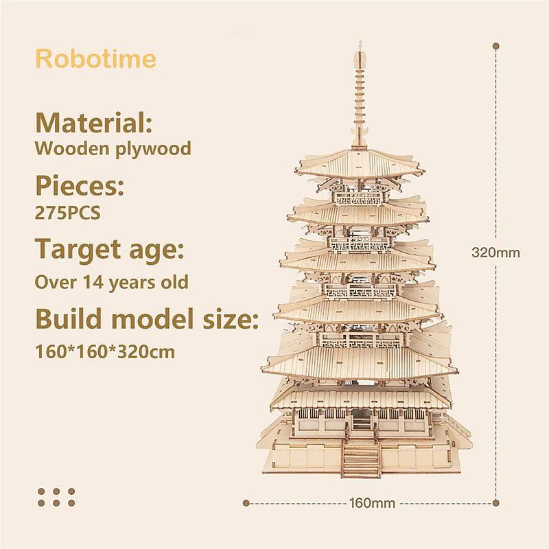 RobotimeRolife275pcsDIY3DFive storiedPagodaWoodenPuzzle