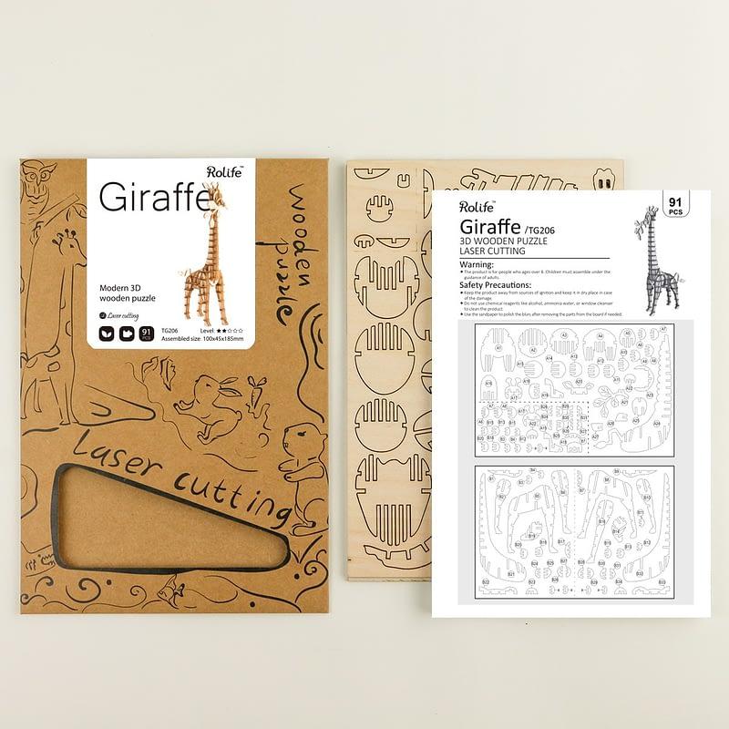 giraffe modern 3d wooden puzzle wild animals 5