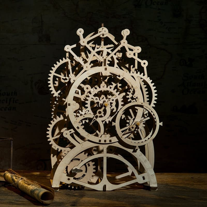 4 DIY wooden house puzzle decoration romantic Timepiece part 3D three dimensional puzzle intelligence development 23 4X11