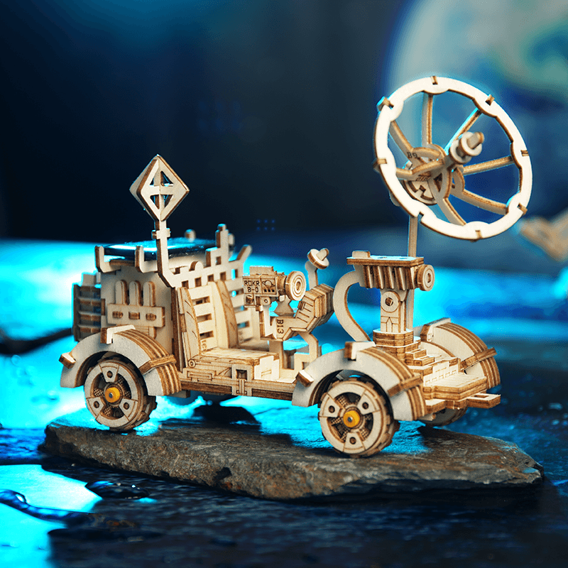 rambler rover 3d wooden puzzle movement assembled solar energy powered toys space hunting