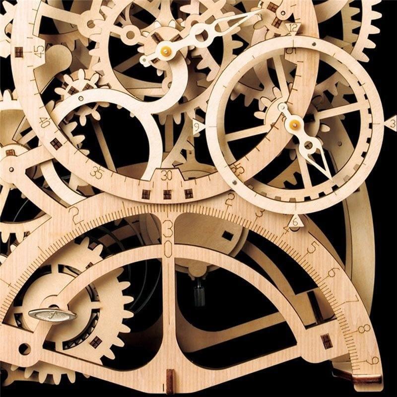 4 35 24CM Rear Clock Craft 3D Wooden Puzzle Toy DIY LK501 Constant Pendulum Assembly Craft Set