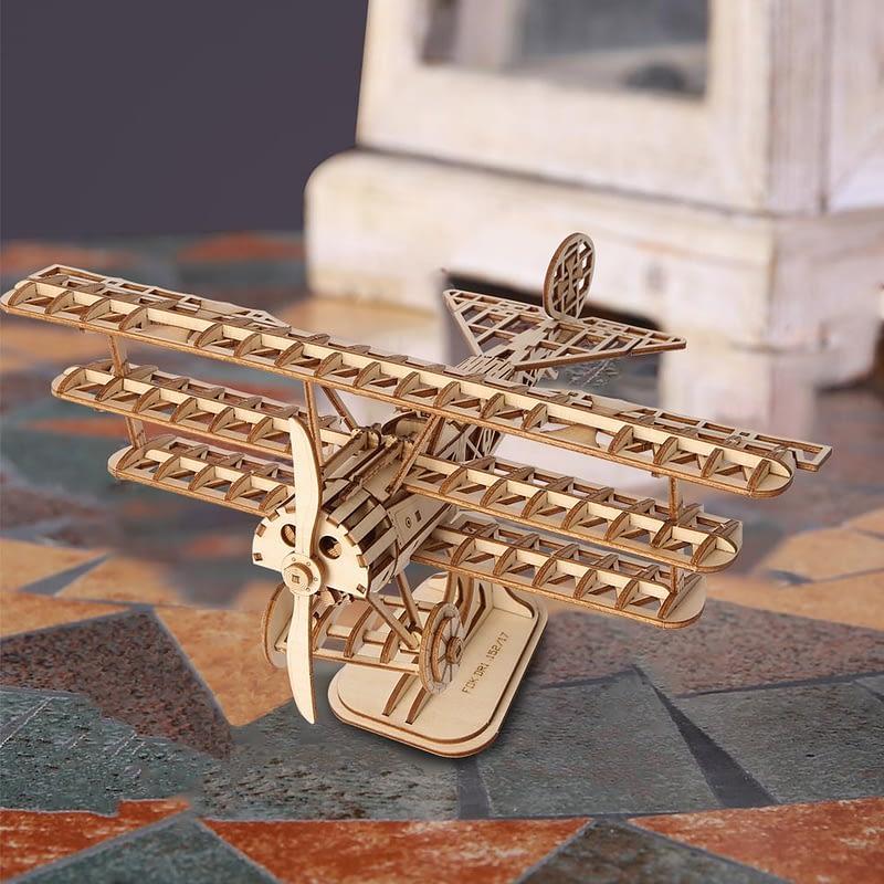 bi plane modern 3d wooden puzzle 4