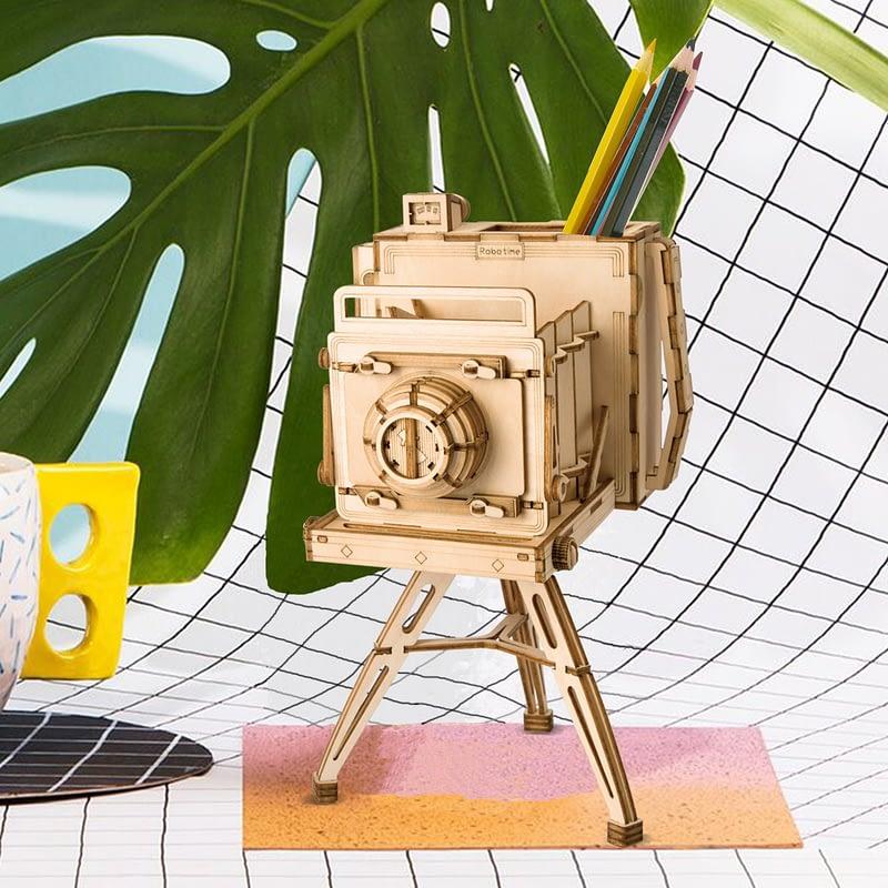 vintage camera modern 3d wooden puzzle 2