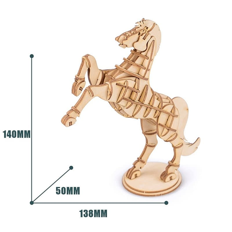 horse modern 3d wooden puzzle farm animals 5