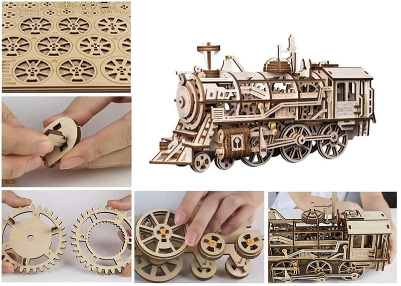 robotime locomotive movement assembled diy mechanical model