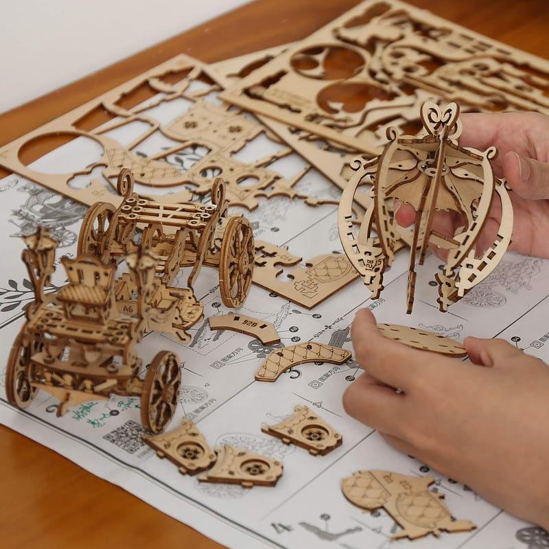pumpkin cart modern 3d wooden puzzle