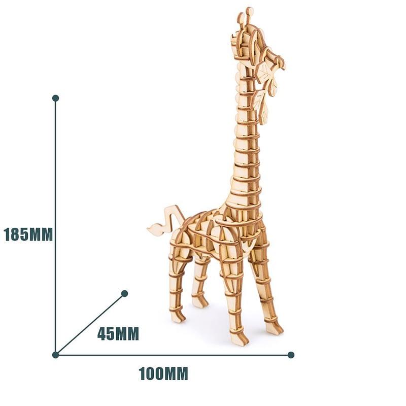 giraffe modern 3d wooden puzzle wild animals 6