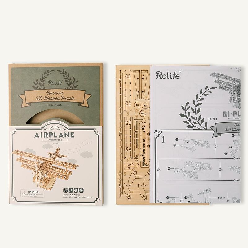 bi plane modern 3d wooden puzzle 7