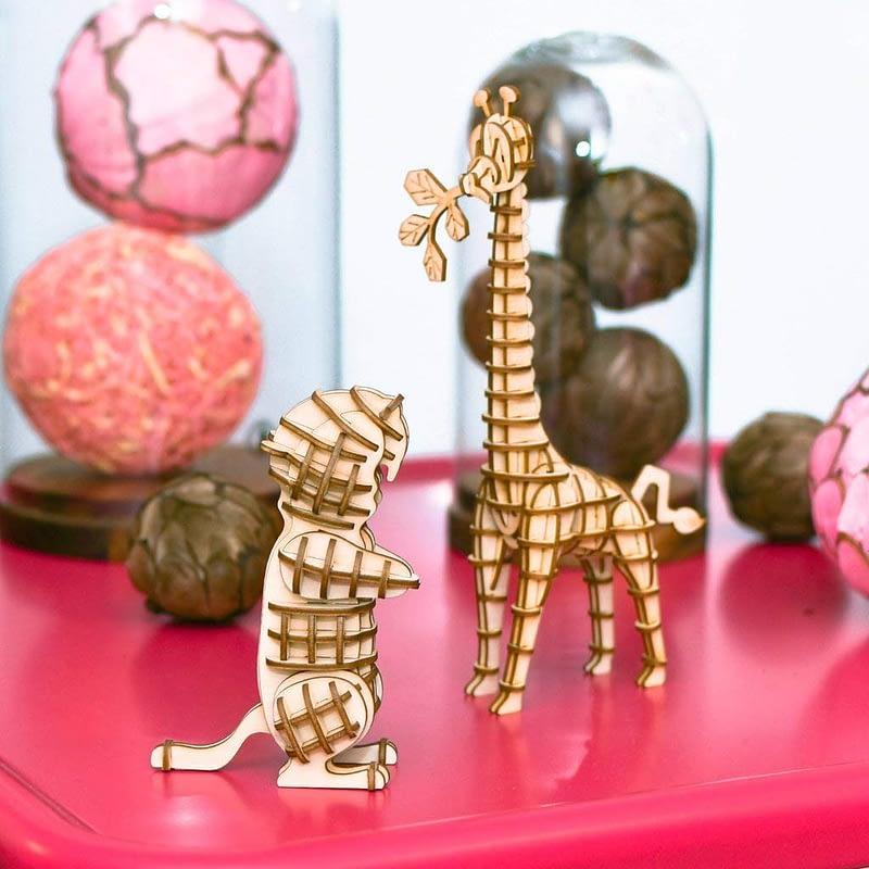 giraffe modern 3d wooden puzzle wild animals 2