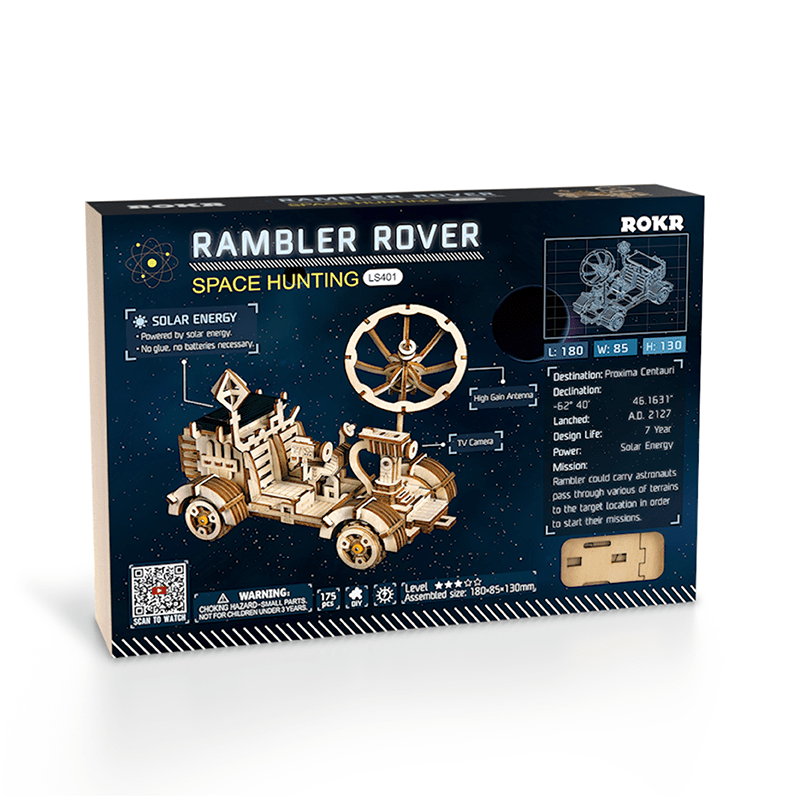 rambler rover 3d wooden puzzle movement assembled solar energy powered toys space hunting 3