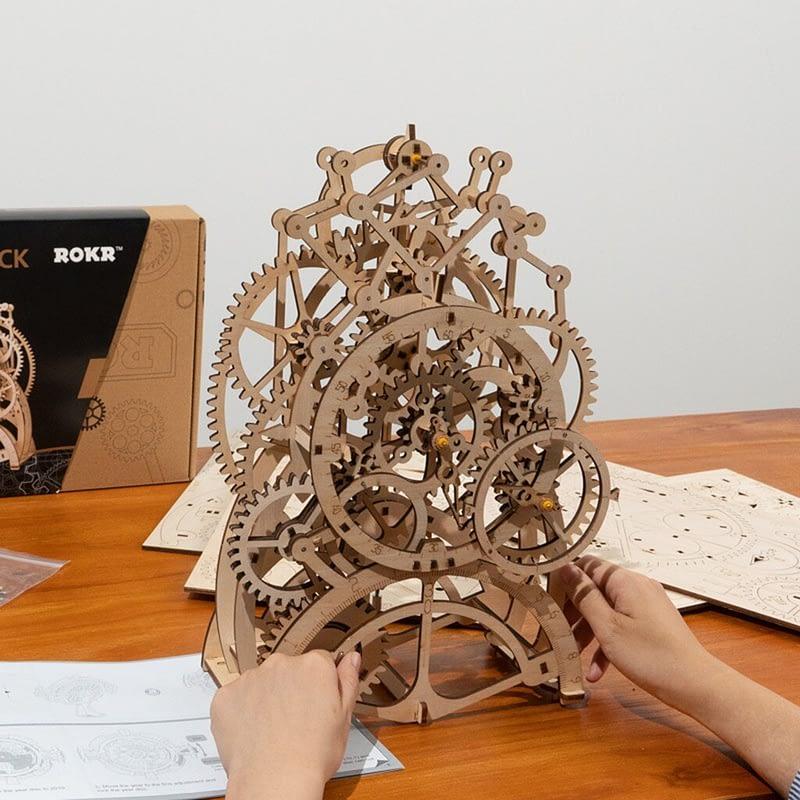 2 DIY wooden house puzzle decoration romantic Timepiece part 3D three dimensional puzzle intelligence development 23 4X11