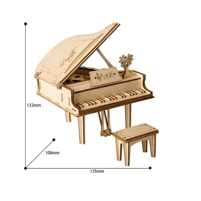 grand piano modern 3d wooden puzzle 4
