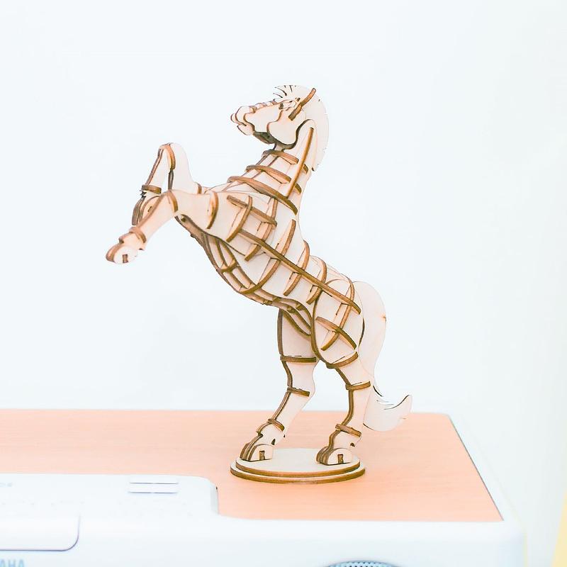 horse modern 3d wooden puzzle farm animals 4