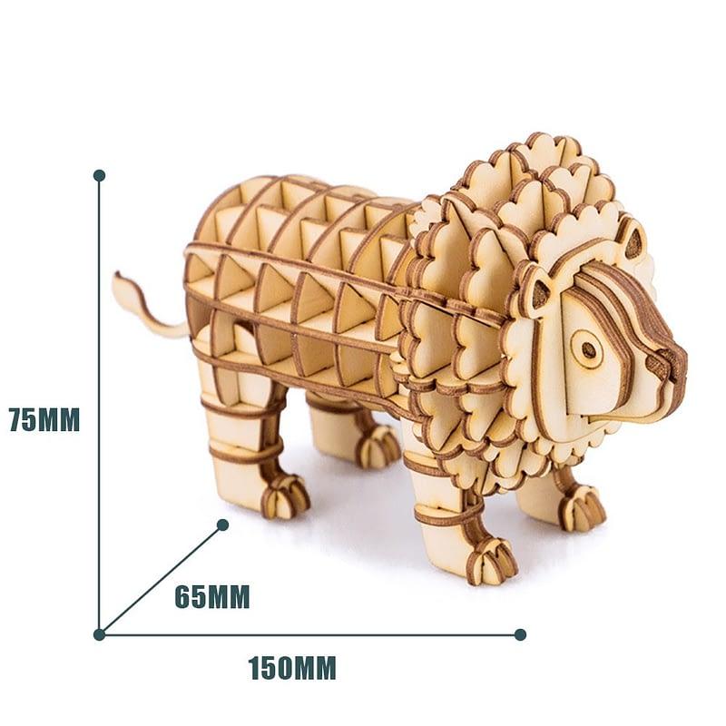 lion modern 3d wooden puzzle 4