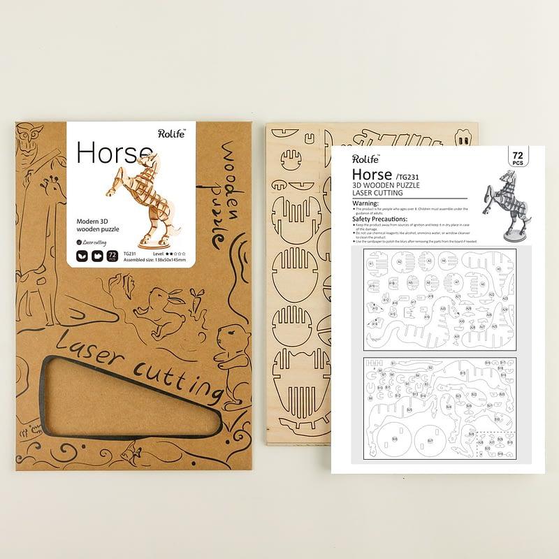 horse modern 3d wooden puzzle farm animals 6