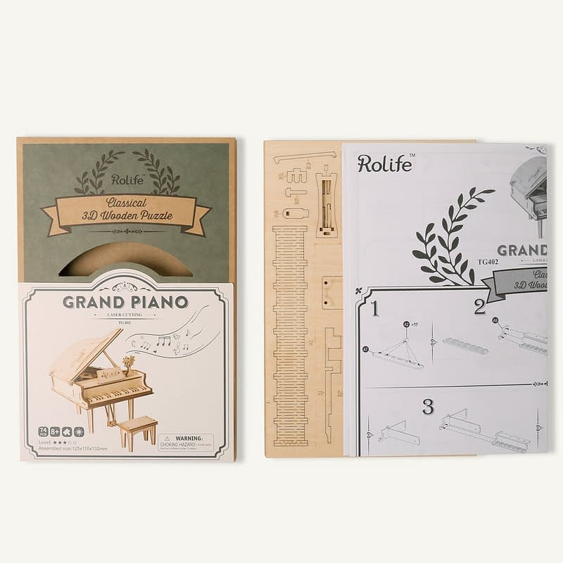 grand piano modern 3d wooden puzzle 5