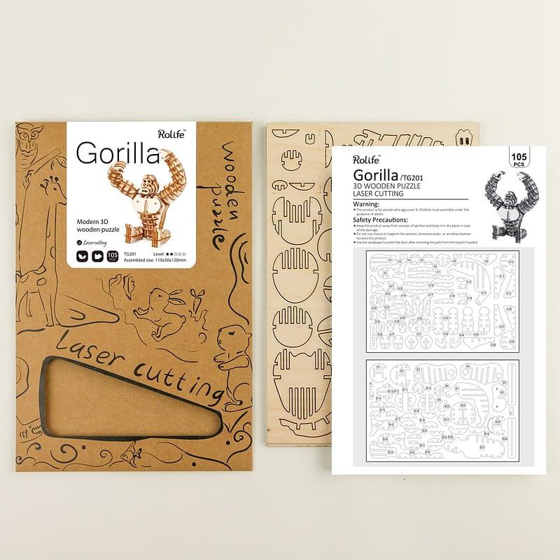gorilla modern 3d wooden puzzle 4