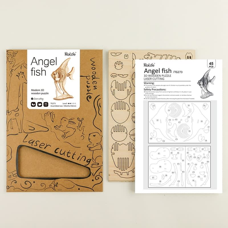 angel fish modern 3d wooden puzzle 4