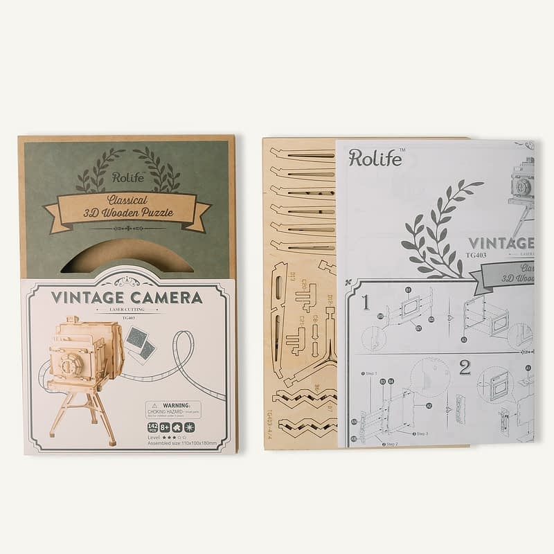 vintage camera modern 3d wooden puzzle 7