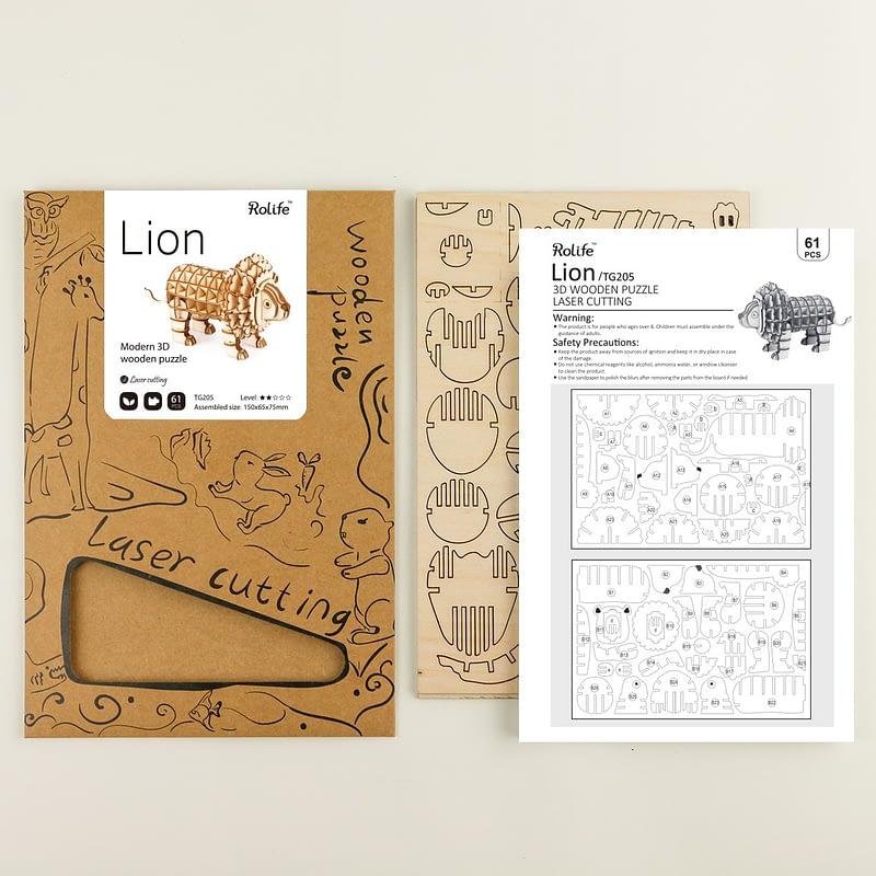 lion modern 3d wooden puzzle 5